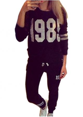 Number Printed Casual Sport Set
