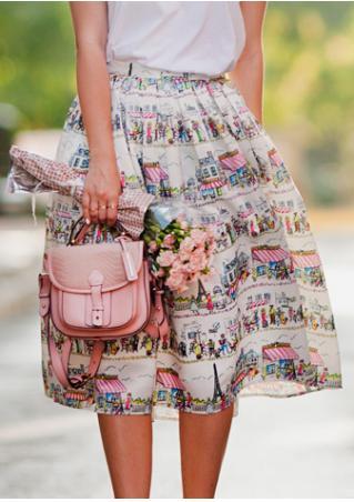 Printed Ruffled Casual Skirt
