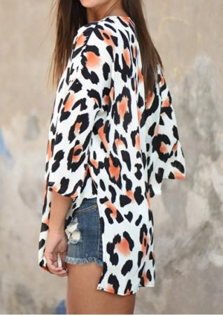 Leopard Printed Side Slit Cardigan