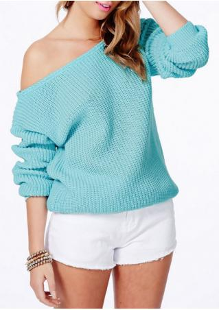 Solid Slash Neck Knitted Sweater