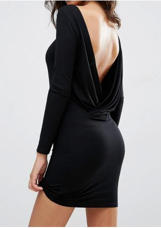 Solid Backless Bodycon Mini Dress