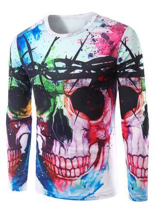 Multicolor Skull Printed T-Shirt