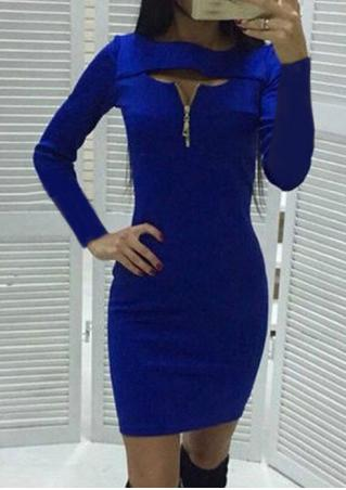 Solid Front Zipper Mini Bodycon Dress
