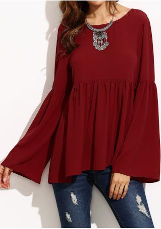 Solid Ruffled Blouse Without Necklace