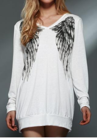 Wings Printed V-Neck Long Sleeve Sweatshirt
