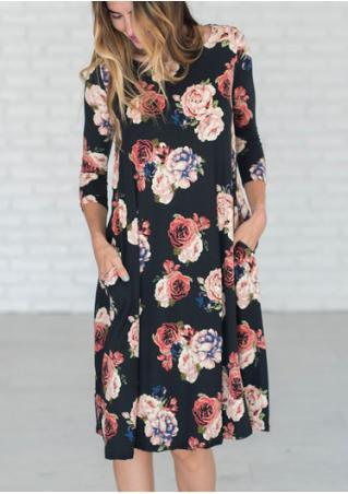 Floral Pocket Casual Shift Dress