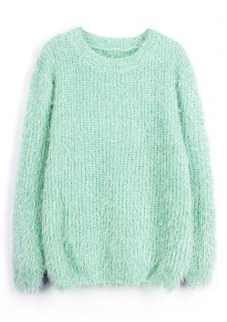 Solid O-Neck Warm Sweater
