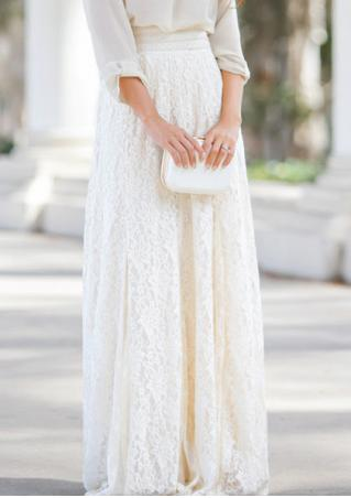 Solid Lace Long Skirt