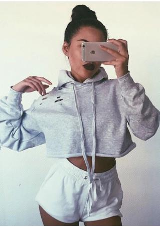 Solid Hollow Out Crop Top