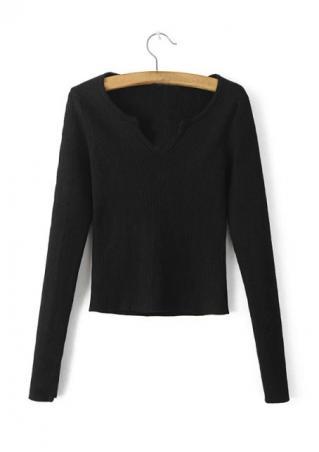 Solid Knitted Slim Crop Top