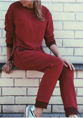 Solid Zipper Sweatshirt Pants Set