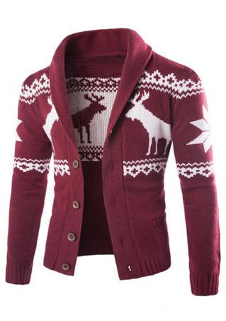 Christmas Reindeer Button Knitted Cardigan