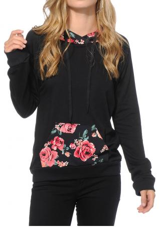 Floral Splicing Kangaroo Pocket Hoodie
