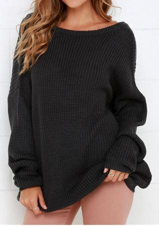 Solid Backless Long Sleeve Loose Sweater
