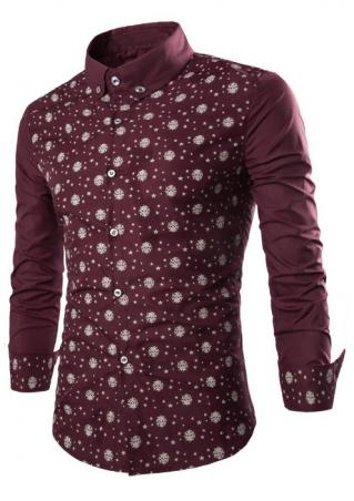 Skull Star Printed Long Sleeve Shirt