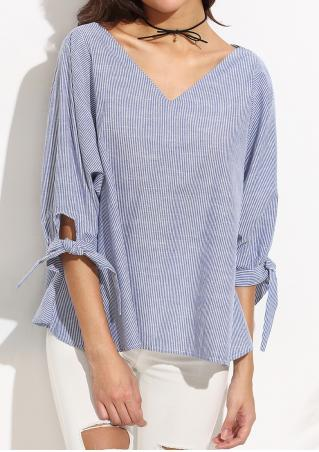 Striped Tie Cuff Blouse Without Necklace