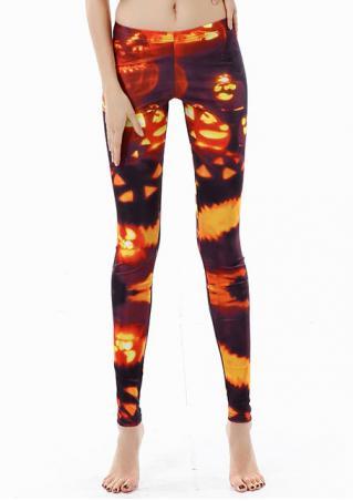 Pumpkin Printed Halloween Skinny Leggings