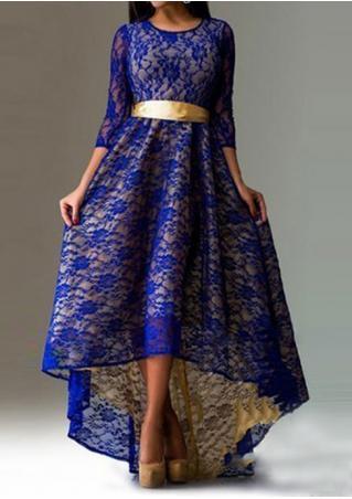 Asymmetric Tie Maxi Lace Dress
