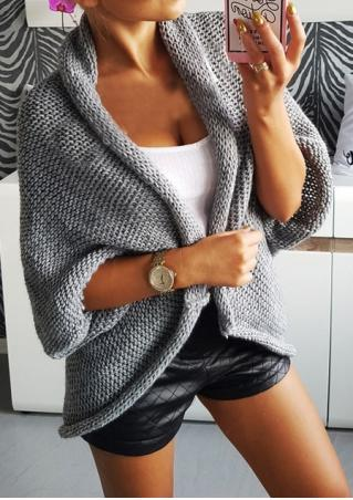 Knitted Batwing Sleeve Casual Cardigan