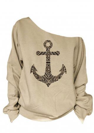 Anchor Printed Off Shoulder Sweatshirt