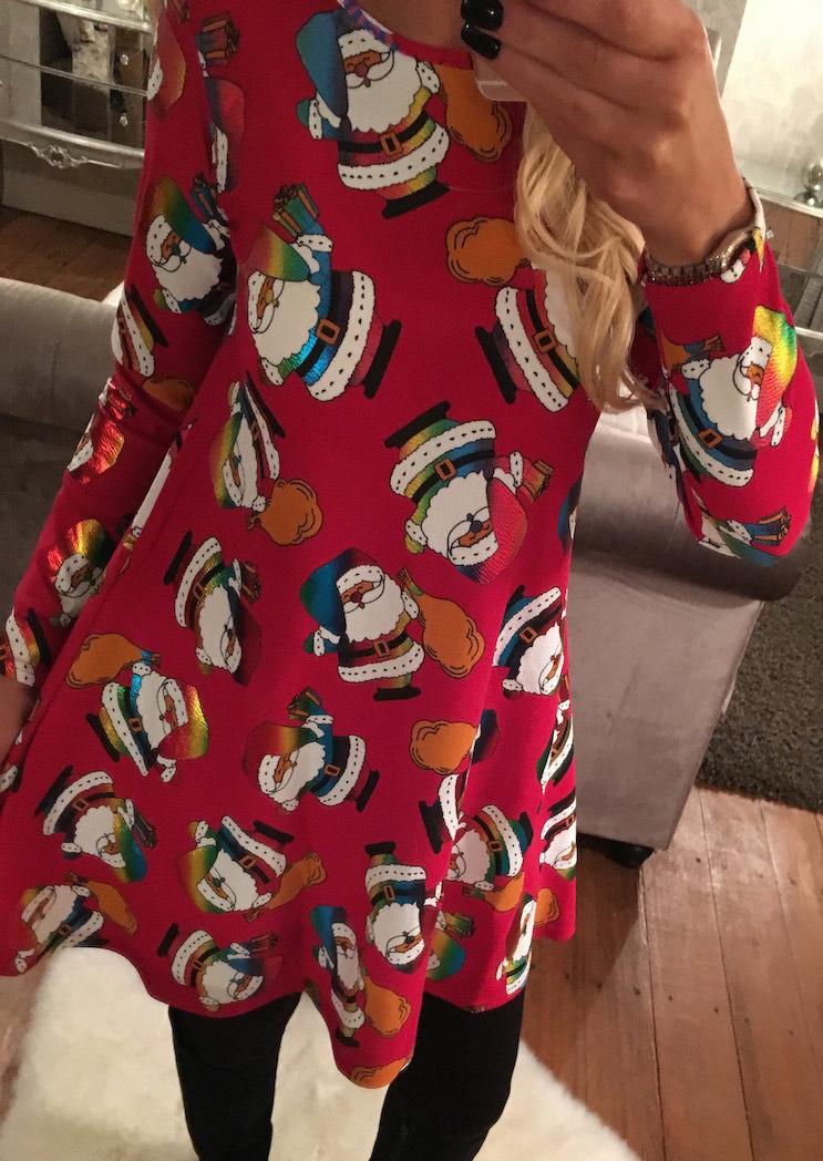 Christmas santa claus printed swing dress bellelily