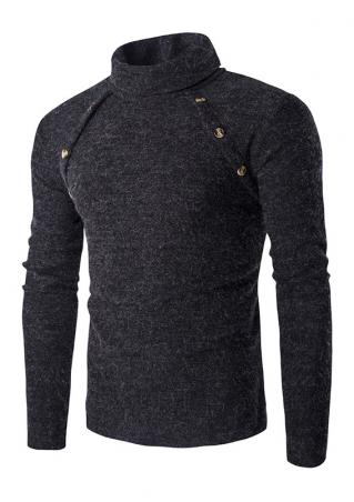 Solid Button Long Sleeve Sweater