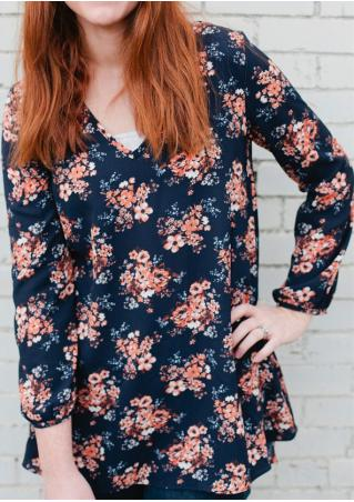 Floral Asymmetric Casual Blouse Without Necklace