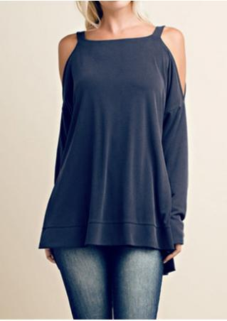 Solid Asymmetric Off Shoulder Square Collar Blouse