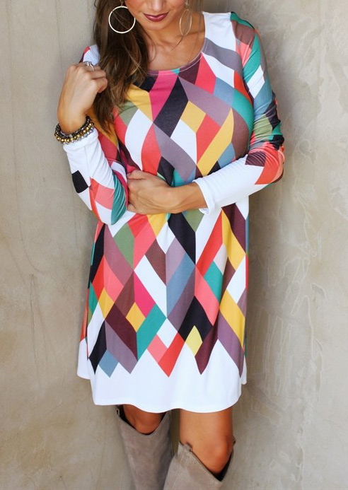 Multicolor Geometric Printed Casual Dress 91758
