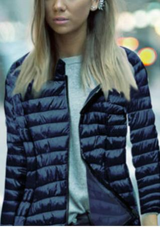 Solid Zipper Padded Casual Jacket