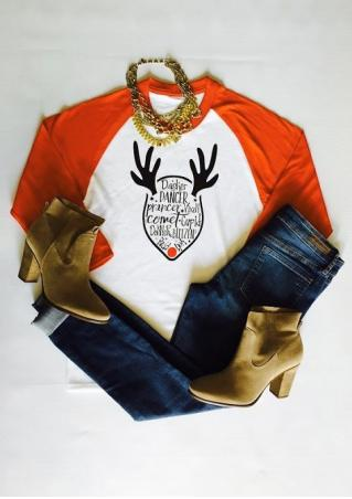 Christmas Reindeer Letter Printed Splicing T-Shirt