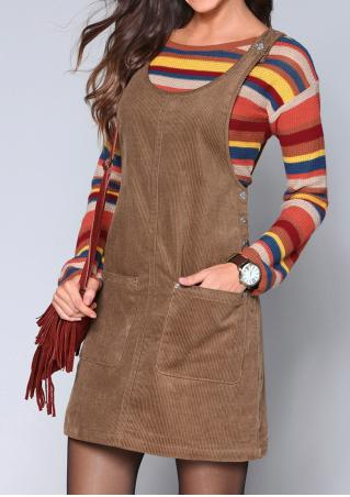 Solid Pocket Corduroy Suspender Dress Without Necklace