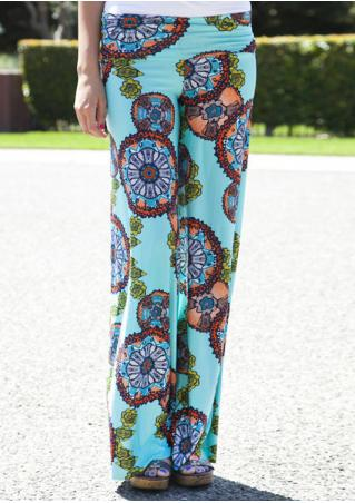 Multicolor Printed Wide Leg Casual Pants