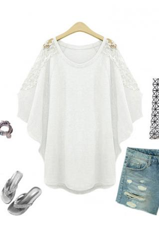 Solid Lace Splicing Loose Blouse