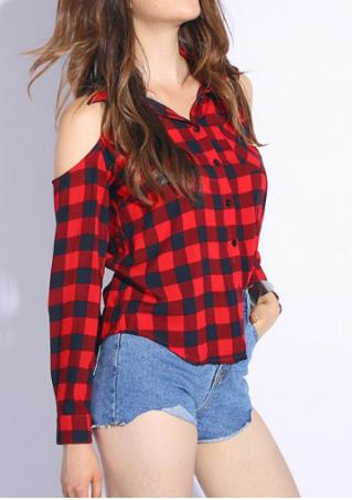Plaid Pocket Off Shoulder Long Sleeve Shirt