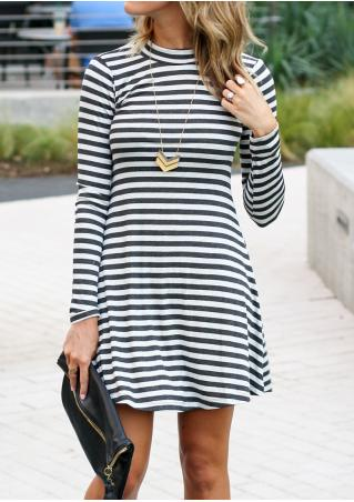 Striped Long Sleeve Slim Dress Without Necklace