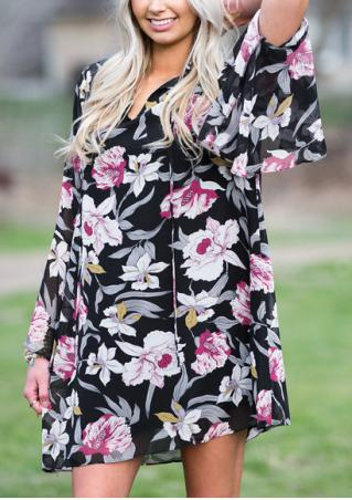 Floral Flare Sleeve Mini Shift Dress