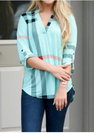 Plaid V-Neck Tab-Sleeve Blouse
