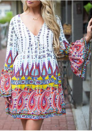 Paisley Printed Mini Dress Without Necklace