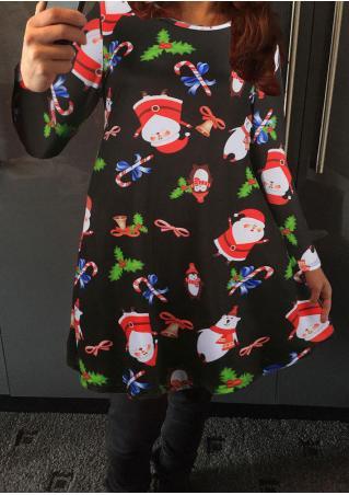 Christmas Santa Claus Printed Casual Dress
