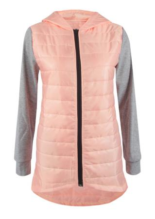 Splicing Pocket Long Sleeve Hooded Jacket