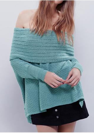Solid Slash Neck Asymmetric Sweater