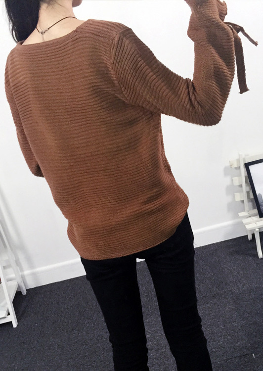 Solid Tie Sleeve Knitted Sweater - Bellelily
