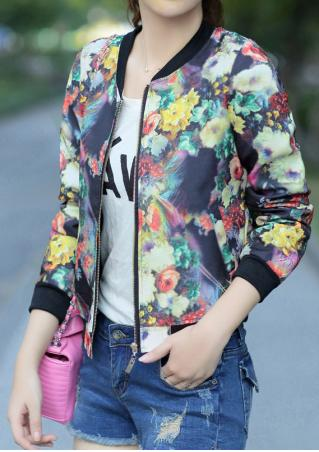 Floral Pocket Jacket Without Necklace