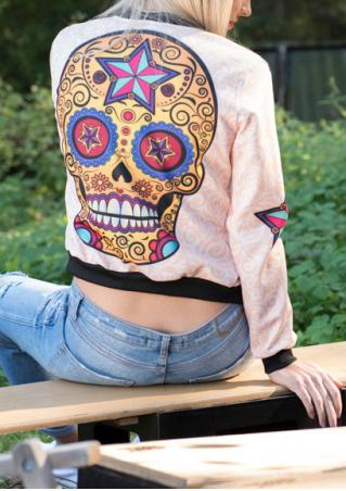 Multicolor Skull Printed Zipper Jacket