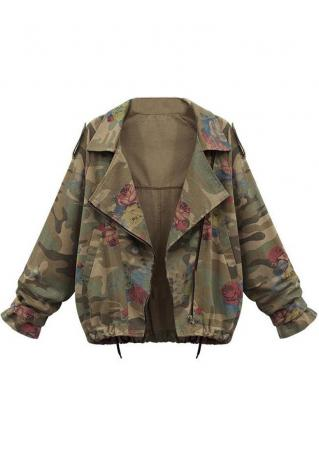 Rose Printed Camouflage Zipper Jacket