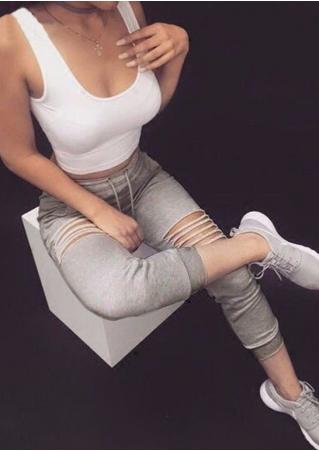 Solid Hole Casual Sport Pants