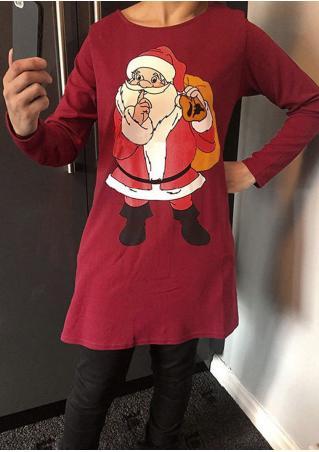 Christmas Santa Claus Printed Dress