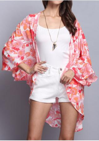 Floral Printed Casual Kimono Without Necklace