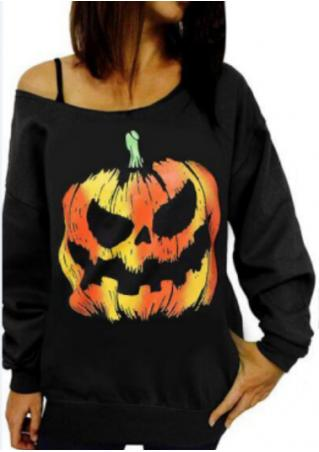 Halloween Pumpkin Printed Slash Neck Sweatshirt